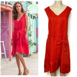 SUNDANCE Cafe Rouge Red Silk Linen Shirt Dress XL